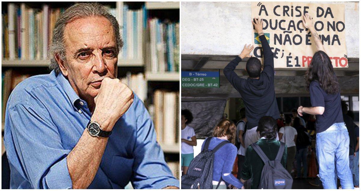 """Para o jornalista Janio de Freitas, o movimento dos estudantes em todo o País vai resistir """"caso o governo não admita que cometeu um ato de autoritarismo, com a imposição de uma alegada 'reforma do ensino' sem a discutir sequer com uma das várias partes diretamente envolvidas no assunto""""; ele critica ainda a """"indiferença"""" do governador Geraldo Alckmin, que deseja a presidência: """"A cada episódio de sua PM ditatorialesca, Alckmin comparece com suas falazinhas de bom moço"""""""