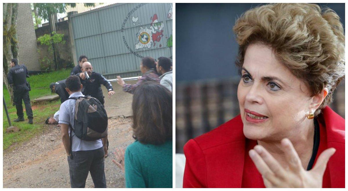 """""""A invasão da Escola Nacional Florestan Fernandes, ligada ao MST, é um precedente grave. Não há porque admitir ações policiais repressivas que resultem em tiros e ameaças letais, ainda mais em uma escola"""", diz a presidente afastada Dilma Rousseff; """"É lamentável que a semana termine com novos assaltos aos direitos civis e a tentativa de criminalizar os movimentos sociais. O atropelo às regras do Estado de Direito, com a adoção de claras medidas de exceção, deve ser combatido. É uma ameaça à democracia que envergonha o país aos olhos do mundo"""""""