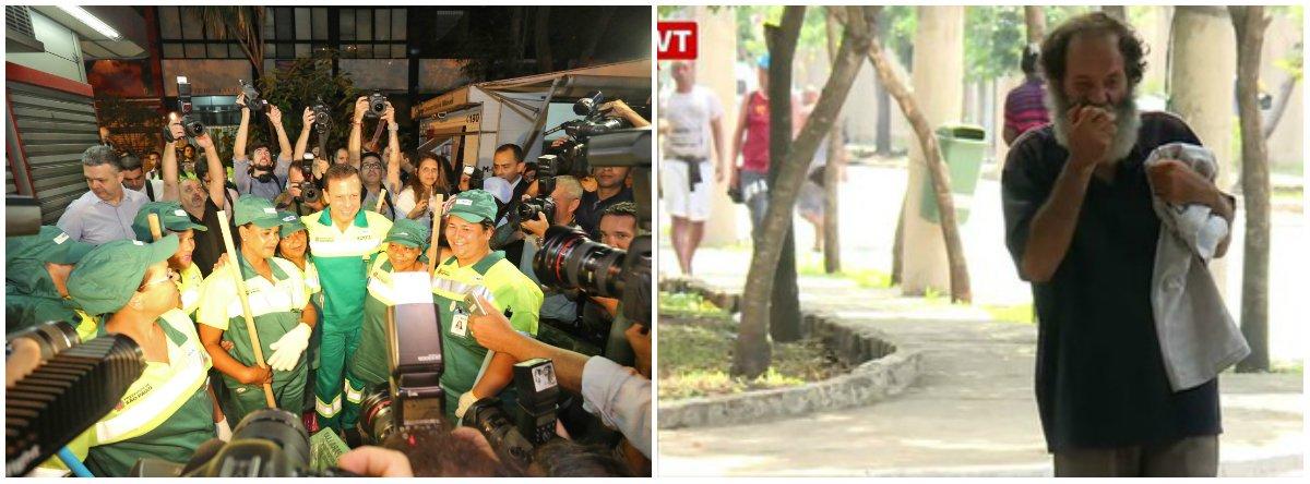 Horas depois de o novo prefeito de São Paulo, João Doria (PSDB), posar para as câmeras vestido de gari, no lançamento do programa Cidade Linda, cerca de 70 moradores de rua foram expulsos do Parque da Mooca, na zona leste da capital, e tiveram todos os seus pertences apreendidos - inclusive medicamentos