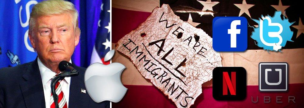 """Presidentes de uma série de grandes empresas norte-americanas aderiram à crítica em relação ao novo decreto do presidente recém-empossado, Donald Trump, que suspende a entrada de todos os refugiados; """"Apple não sobreviveria sem imigrantes, sem falar da prosperidade ou desenvolvimento que temos hoje em dia"""", diz o chefe da multinacional Apple, Tim Cook; fundador do Facebook, Mark Zuckerberg disse que""""os EUA são uma nação de migrantes"""" e que as pessoas devem ter orgulho nisso; """"O impacto humanitário e econômico do decreto executivo é real e desolador. Nós beneficiamos daquilo que os refugiados e imigrantes trazem aos EUA"""", disse Jack Dorsey, do Twitter"""