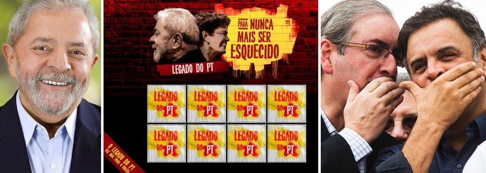 """Um dos principais responsáveis pela tragédia econômica brasileira, que produziu indicadores como 12 milhões de desempregados, contas públicas arrombadas, estados falidos e indústria na lanterna do mundo, o senador Aécio Neves (PSDB-MG), que tumultua o Brasil desde que perdeu as eleições presidenciais de 2014, aliando-se a Eduardo Cunha para promover o """"quanto pior, melhor"""", que virou """"quanto pior, pior"""", tenta agora vencer a batalha ideológica com um jogo da memória, que, na prática, visa ocultar o fracasso do golpe articulado por PSDB e PMDB; aliás, se os brasileiros não tivessem memória, o ex-presidente Lula, mesmo massacrado pela mídia, não estaria liderando todas as pesquisas sobre sucessão presidencial"""