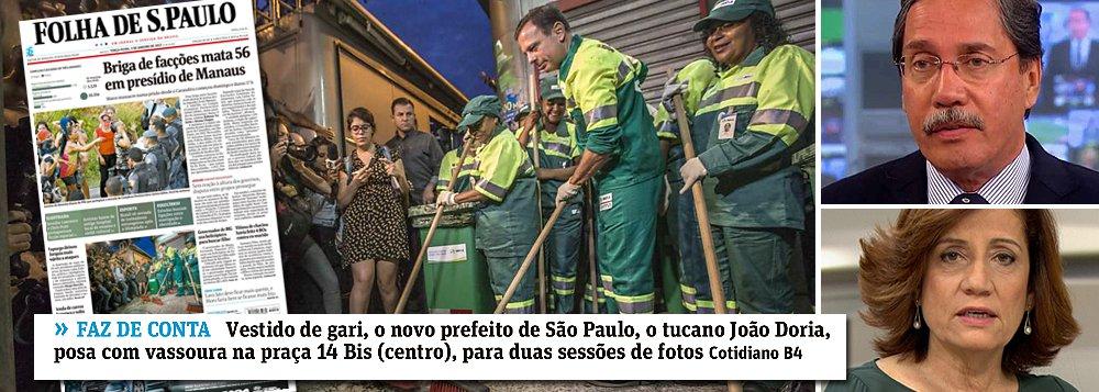 """O """"gari"""" João Doria pretendia abafar em sua estreia como prefeito de São Paulo, mas o factoide da varrição de ruas já varridas foi um fiasco absoluto; o tucano apanhou na primeira página da Folha, que ironizou seu """"faz de conta"""", e no Globo, onde Merval Pereira e Miriam Leitão o criticaram; """"Confesso que votei em Doria com boa dose de expectativa. Agora, vê-lo acompanhado de acólitos vestidos de garis limpando as ruas de São Paulo me decepcionou enormemente. Esse tipo de manifestação, ridiculamente populista, não tem nada a ver com administrar a cidade"""", disse o eleitor Antonio Pedro da Silva Neto; alguém precisa dizer a Doria que administrar São Paulo não é um reality show"""