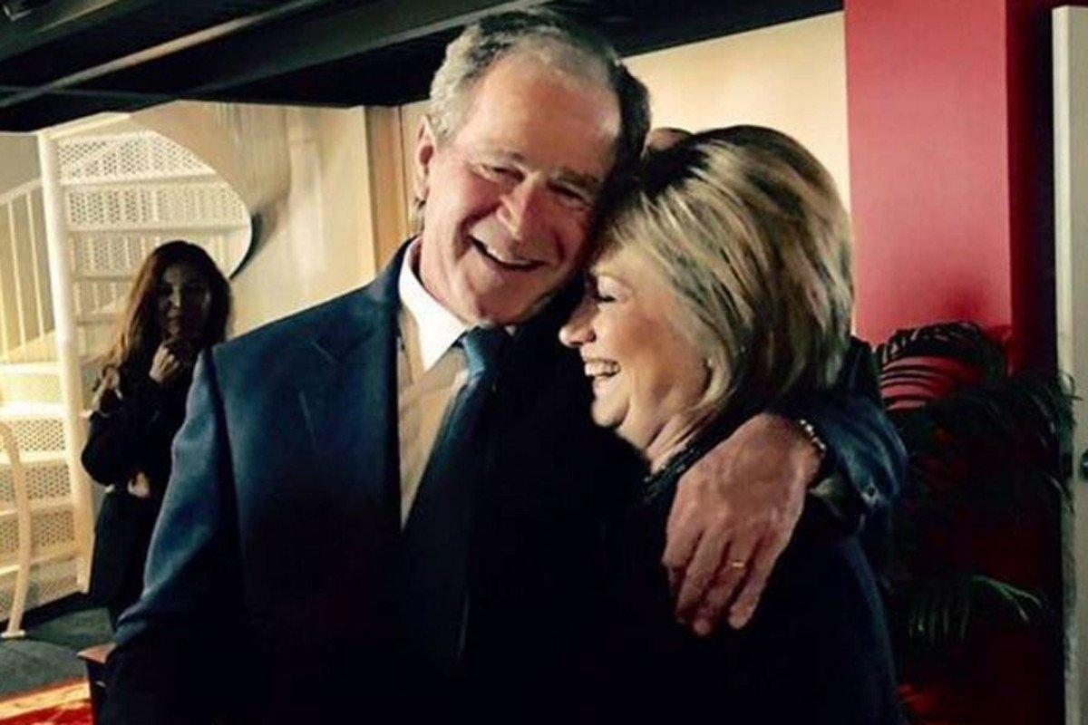 George W. Bush e Hillary Clinton