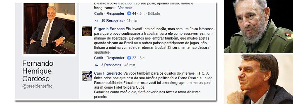 """""""Fernando Henrique Cardoso caiu na besteira de fazer um post, no Facebook, manifestando algum pesar pela morte de Fidel Castro. Impressiona a reação dos seguidores do ex-presidente, dos filhos do que o PSDB se tornou"""", diz Fernando Brito, editor do Tijolaço; """"Criaram corvos, que lhes bicam os olhos. O filho do PSDB, o filho de Fernando Henrique não é Aécio Neves. É Jair Bolsonaro"""""""
