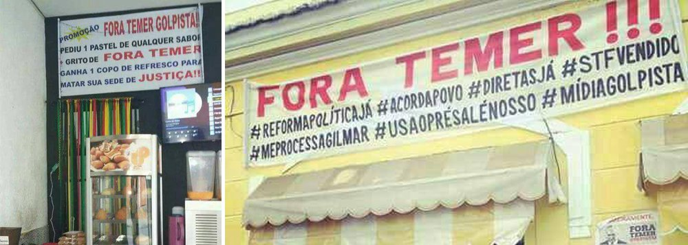 Uma pastelaria em Belo Horizonte está fazendo uma promoção diferente: 'Faça um pedido e grite #ForaTemer, e ganhe 1 copo de refresco pra matar sua sede de justiça!', diz o enunciado da promoção