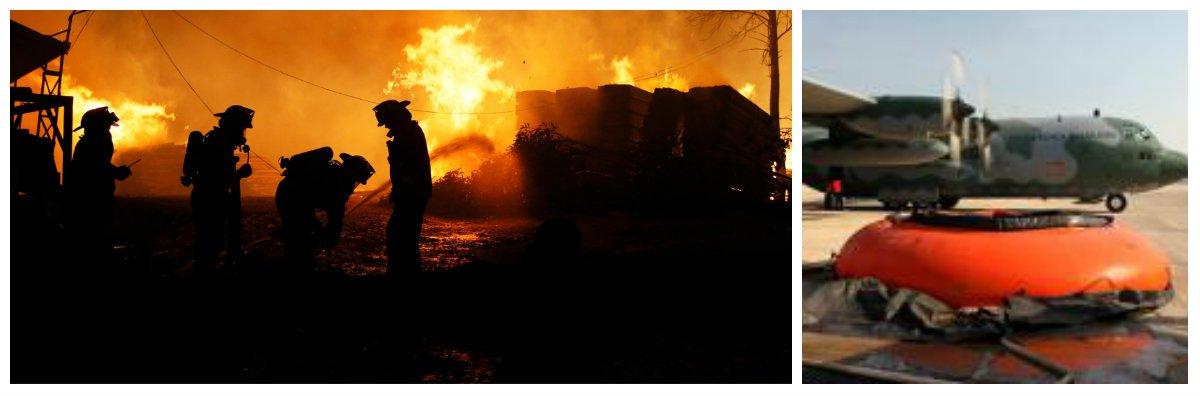 A Força Aérea Brasileira enviou hoje para Santiago, no Chile, duas aeronaves Hércules para auxiliar no combate a um dos piores incêndios da história daquele país; segundo boletim da Corporación Nacional Forestal (Conaf), até ontem havia 110 incêndios florestais ativos; os incêndios já deixaram 11 mortos e queimaram uma área de cerca de 374 mil hectares; asregiões mais afetadas são as do centro e do sul do país