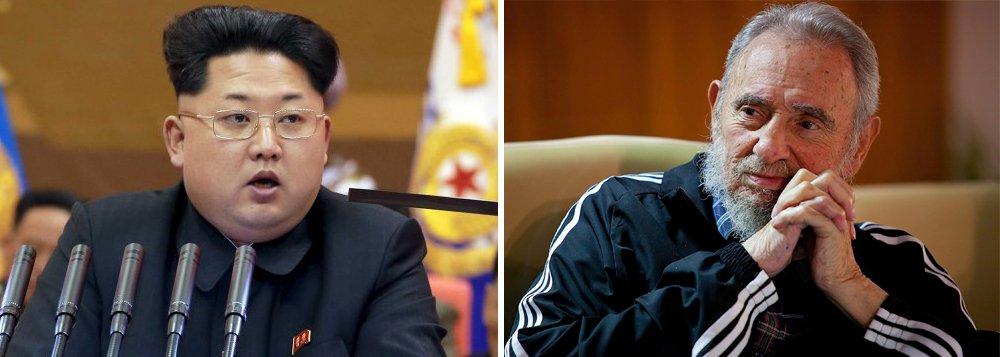 """Governo de Pyongyang envia delegação de alto nível para funeral do revolucionário cubano. Líderes norte-coreanos dizem que """"relações fraternais de amizade"""" com Cuba permanecerão para sempre.O líder norte-coreano, Kim Jong-un, enviou uma coroa de flores à embaixada cubana no país"""
