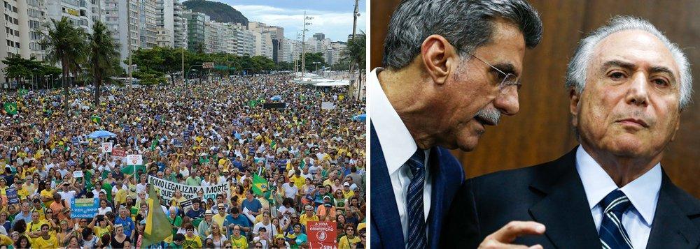 """Colocado no poder por políticos e parlamentares apavorados com a Lava Jato, Michel Temer corre agora o risco de frustrá-los, depois das manifestações deste domingo; o impeachment da presidente Dilma Rousseff teve como finalidade principal afastar a presidente honesta para que fosse possível, sob o comando de Temer, frear a Lava Jato e """"estancar essa sangria"""", como definiu seu líder Romero Jucá (PMDB-RR); emparedado pelos protestos, e com péssimos resultados na economia, Temer já tenta se desvencilhar de sua missão principal, mas corre o risco de ser derrubado pelos mesmos parlamentares que o apoiaram; """"se não sancionar, cai"""", disse um representante do baixo clero, que comandou a reação do parlamento às chamadas """"10 medidas contra a corrupção"""""""