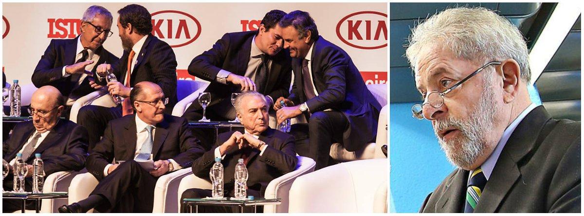 Advogados do ex-presidente levam à Justiça registros de que o juiz Sérgio Moro, da Lava Jato, esteve nessa semana em dois eventos em que aparece em momentos íntimos e de confraternização com políticos do PSDB; em Mato Grosso, governado por Pedro Taques, o magistrado chegou a elogiar um deputado tucano em seu discurso; na noite de ontem, Moro se deixou fotografar em intimidade e dando risadas com o senador Aécio Neves (PSDB-MG), político mais delatado na Lava Jato, e o ministro José Serra, acusado de ter recebido R$ 23 milhões em propina da Odebrecht; as fotos geraram indignação na internet; confira a íntegra da petição apresentada pela defesa de Lula