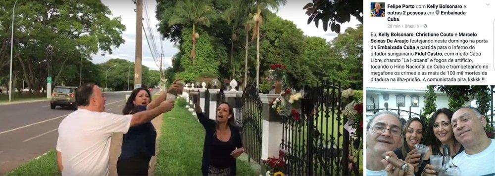 """Felipe Porto, militante do MBL, postou numa rede social fotografia em que aparecem ele, Kelly Bolsonaro, Cristiane Couto e Marcelo Seixas de Araujo brindando à morte de Fidel na porta da Embaixada. Seu texto diz: """"Eu, Kelly Bolsonaro, Criatiane Couto e Marcelo Seixas de Araujo festejando, neste domingo, na porta da Embaixada de Cuba a partida para o inferno do ditador sanguinário Fidel Castro, com muita Cuba Libre, charuto """"La Habana"""" e fogos de artifício, tocando o Hino Nacional de Cuba e trombeteando no microfone os crimes e as mais de 100 mil mortes da ditadura na ilha-prisão. A comunistada pira, kkkk...""""; texto de Tereza Cruvinel"""