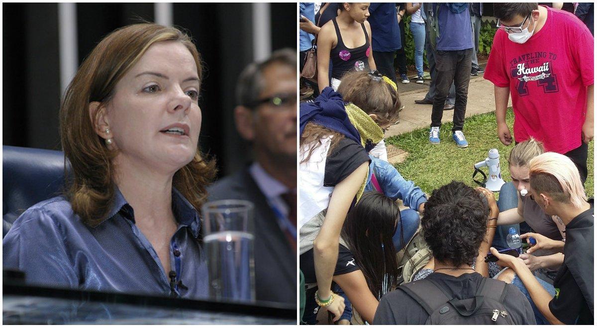 """""""Estudantes querem debater a PEC. Querem ser ouvidos. Querem participar e defender seus direitos. É lamentável que sejam recepcionados desta maneira. O estado de exceção casa vez mais evidente. Inadmissível!"""", criticou a senadora Gleisi Hoffmann (PT-PR)"""