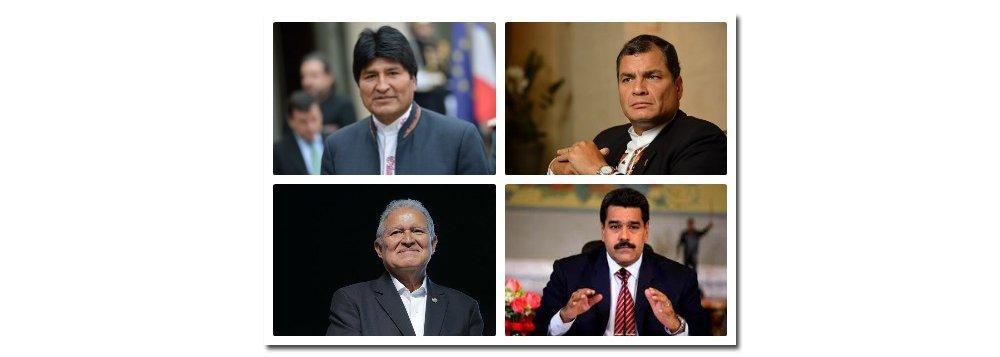 """Vários chefes de Estado de países da América Latina divulgaram mensagens de profunda tristeza e solidariedade ao povo cubano pela morte do líder Fidel Castro; Evo Morales, presidente da Bolívia, disse ter recebido a notícia da morte de um """"gigante da humanidade"""" com """"profunda dor"""";Rafael Correa, presidente do Equador, lamentou dizendo que se """"se foi um grande. Morreu Fidel. Viva Cuba! Viva a América Latina"""", enquanto o presidente do México, Enrique Peña Nieto, chamou Fidel de """"figura emblemática do século 20"""""""