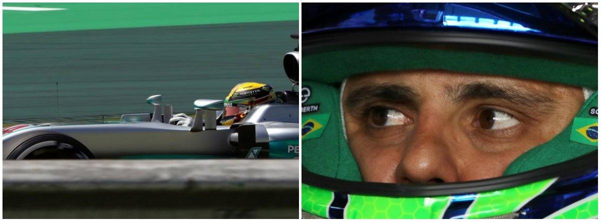 O tricampeão mundial Lewis Hamilton venceu uma corrida com várias pausas, molhada e caótica no Grande Prêmio do Brasil, neste domingo, para levar a batalha do título da Fórmula 1 com o colega de Mercedes, Nico Rosberg, à última prova em Abu Dhabi; o brasileiro Felipe Massa, que está deixando a Fórmula 1, não completou a corrida após bater a sua Williams