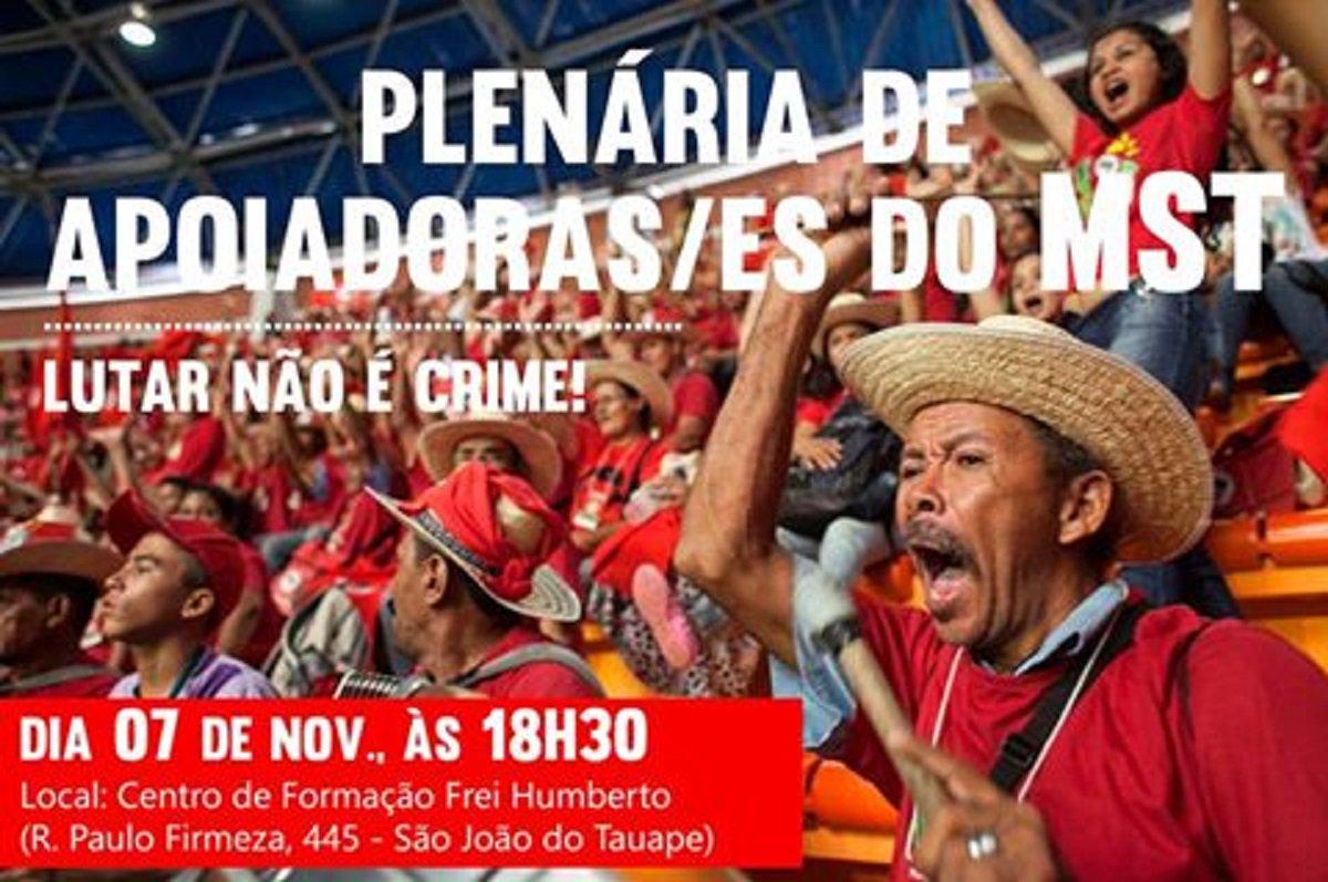 A coordenação do Movimento dos Trabalhadores Rurais Sem Terra (MST), no Ceará realiza hoje (7), a partir das 18:30h, uma plenária de apoiadores/as, no Centro de Formação Frei Humberto ( Rua Paulo Firmeza, 445 - São João do Tauape). O ato representa uma manifestação de solidariedade ao MST e aos seus integrantes, vítimas da invasão daEscola Nacional Florestan Fernandes (ENFF) em Guararema, São Paulo e também tem o objetivo de denunciara tentativa de criminalização de movimentos populares