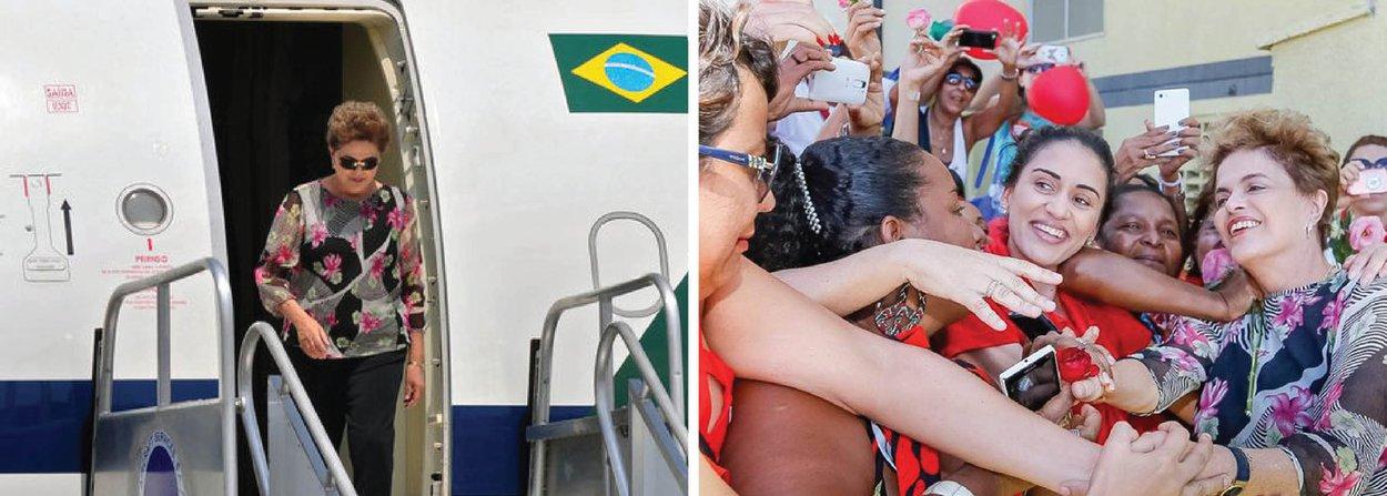 """A presidente eleita Dilma Rousseff publicou em seu Facebook, na noite desta segunda (4), trecho da entrevista que concedeuao programa do DCM na TVT no qual fala sobre ocrowdfunding, que já arrecadou R$ 600 mil para que ela possa viajar o país denunciando o golpe; """"Está um sucesso.O governo ilegítimo, interino e provisório me tirou os aviões. Quem vai me dar os aviões é esta arrecadação, para que a gente possa viajar o Brasil inteiro. É um financiamento bem claro. Tem prestação de contas, é de absolutamente transparência"""", afirmou; até às 19h42 desta segunda, a """"vaquinha"""" virtual já tinha arrecadado R$ 613,6 mil, sendo que os primeiros R$ 500 mil (que eram a meta docrowdfunding) foram alcançados em 48 horas - um recorde"""