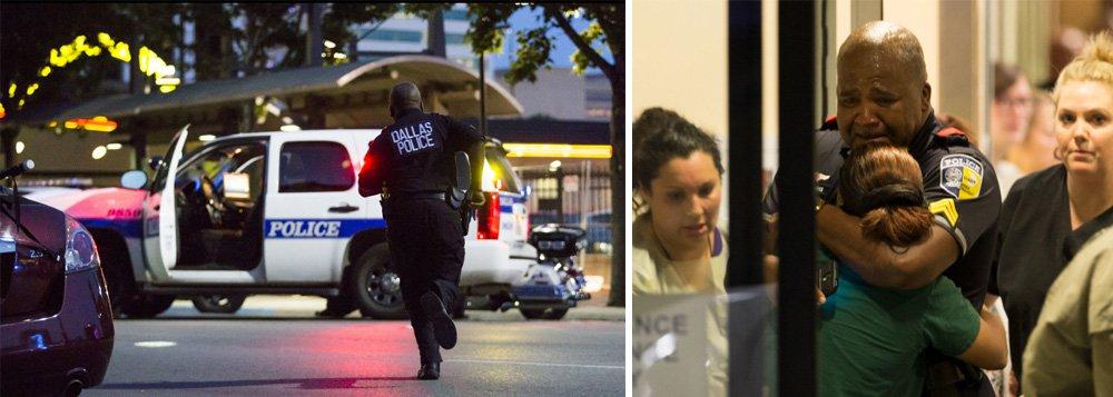Franco-atiradores instalados em telhados mataram cinco policiais em Dallas e feriram mais seis em um ataque coordenado durante um dos diversos protestos espalhados pelo país após a morte de dois homens negros pela polícia nesta semana.;polícia descreveu a emboscada como cuidadosamente planejada e executada, três pessoas foram presas e um quatro suspeito foi morto a tiros; ataque foi um dos piores a tiros em massa contra policiais na história dos Estados Unidos