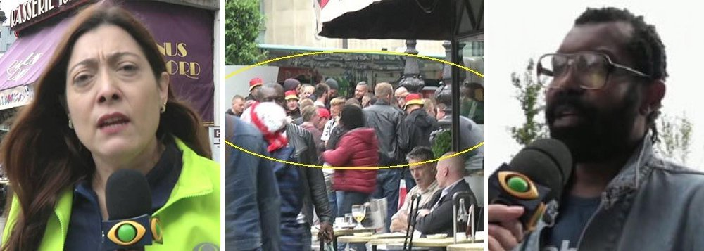 """A repórter Sônia Blota e o cinegrafista Fernando Henrique de Oliveira, da TV Band, levaram um chute e um tapa no rosto; durante cobertura em Paris, eles foram abordados de forma violenta por torcedores da Alemanha, que gritaram """"Fora, seus negros"""""""