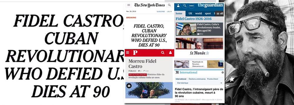 """Morte do líder cubano Fidel Castro, aos 90 anos, na madrugada deste sábado, 26, foi destacada nos principais jornais do mundo; grande jornais como o americano New York Times, o britânico The Guardian, o francês Le Monde ou o português Público reconheceram as conquistas dos líder cubano, tratando-o como """"Pai da Revolução Cubana"""", ou""""Revolucionário que desafiou os EUA"""" ou""""Histórico Líder da Revolução Cubana""""; já o principal jornal brasileiro, Folha de S. Paulo, preferiu uma pequenez histórica, ao chamar Fidel Castro de """"ditador"""""""