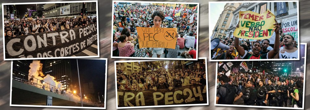 Um grande ato aconteceu na Avenida Paulista, em São Paulo, com estimativa de 20 mil pessoas, e outro na Cinelândia, no Rio de Janeiro, contra a PEC 241, que congelará os gastos públicos por 20 anos, na noite desta segunda-feira 17; no Rio,bombas de gás foram detonadas quando o ato passou na Avenida Chile; segundo a polícia, manifestantes mascarados jogaram fogos no Batalhão de Choque da PM; outro protesto contra a medida polêmica proposta pelo governo Temer lota as ruas de Belo Horizonte