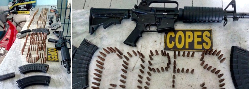 Forças de segurança de Alagoas apreenderam, no Sertão, uma grande quantidade de armas, uma delas - um AR-15 modelo 556 - com poder de fogo de derrubar uma aeronave e muita munição; arsenal foi encontrado próximo ao fórum de Delmiro Gouveia
