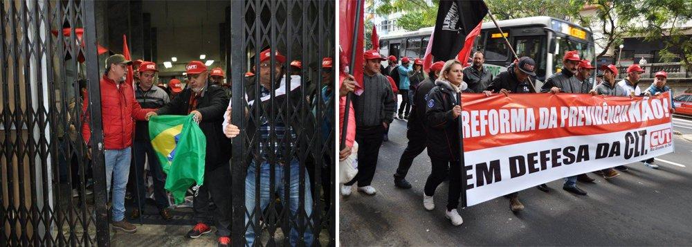 """Aos gritos de """"Temer, golpista, aqui tem resistência, é a Frente Gaúcha, defendendo a Previdência"""", os cerca de 80 trabalhadores e aposentados que ficaram sete dias acampados no edifício Cristaleira, na Rua Jerônimo Coelho, onde funciona a Gerência Regional do INSS, no centro de Porto Alegre, desocuparam o prédio; a saída ocorreu durante ato realizado pelas centrais sindicais, que reuniu centenas de participantes; """"Vamos dar uma grande salva de palmas para esses trabalhadores, que são verdadeiros guerreiros da resistência contra o desmonte da Previdência promovido pelo golpista Michel Temer"""", disse o presidente da CUT-RS, Claudir Nespolo"""