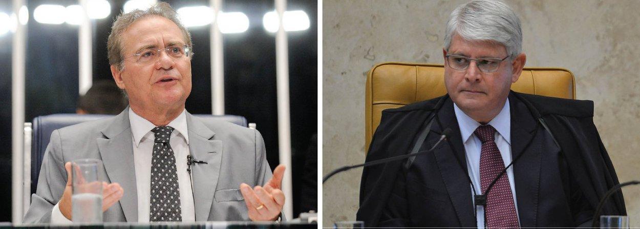 """O argumento usado pelo procurador-geral da República para pedir ao STF a retirada do sigilo da delação premiada de Sérgio Machado constitui uma declaração """"criminosa"""", disse o presidente do Senado, Renan Calheiros (PMDB-AL); em seu pedido, Rodrigo Janot escreveu querer evitar """"uma crise institucional"""" no país, após o vazamento de trechos da delação; para Renan, com a tese, o procurador-geral """"assume a paternidade do vazamento"""" à imprensa dos pedidos de prisão que fez contra a cúpula do PMDB, incluindo ele próprio; senador disse ainda que Janot """"extrapolou o limite do ridículo"""" ao pedir as prisões"""