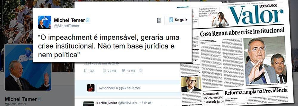 """No dia 30 de março de 2015, o então vice-presidente Michel Temer fez a seguinte postagem em seu Twitter:""""O impeachment é impensável, geraria uma crise institucional. Não tem base jurídica e nem política""""; nesta quarta-feira, a crise institucional está estampada na manchete do Valor, da Globo, que foi a principal força propulsora do golpe de 2016; desde o impechment sem base jurídica, nas palavras de Temer, o Brasil virou terra sem lei e o resultado é uma república bananeira ridicularizada no mundo, onde não se sabe o que é pior: um chefe do Legislativo afastado por liminar ou uma mesa do Senado que descumpre ordem judicial; Temer tinha razão: o golpe afundou o País"""