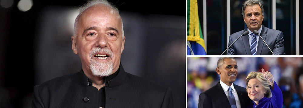 """""""Nos EUA, Clinton/Obama pedem que seus eleitores apoiem Trump. No Brasil, Aecio, já no dia seguinte - bem, vocês sabem..."""", comentou o escritor no Twitter, depois dos discursos feitos pelos derrotados nas eleições norte-americanas Hillary Clinton e Barack Obama; em sua fala, Hillary declarou: """"Devemos aceitar o resultado e olhar para o futuro""""; já Obama disse que """"estamos todos torcendo agora para seu sucesso (de Trump) em unir e liderar o país""""; um dia depois de ser derrotado por Dilma Rousseff em 2014, o senador Aécio Neves fez o oposto, contestando o resultado na Justiça Eleitoral e atirando o Brasil na maior crise de sua história"""