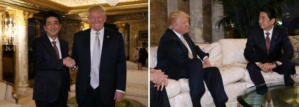 """O primeiro-ministro do Japão, Shinzo Abe, descreveu Donald Trump como um """"líder digno de confiança"""" após um encontro na quinta-feira com o presidente eleito dos Estados Unidos para esclarecer discursos que Trump fez durante campanha e que causaram preocupações sobre a aliança entre os dois países"""