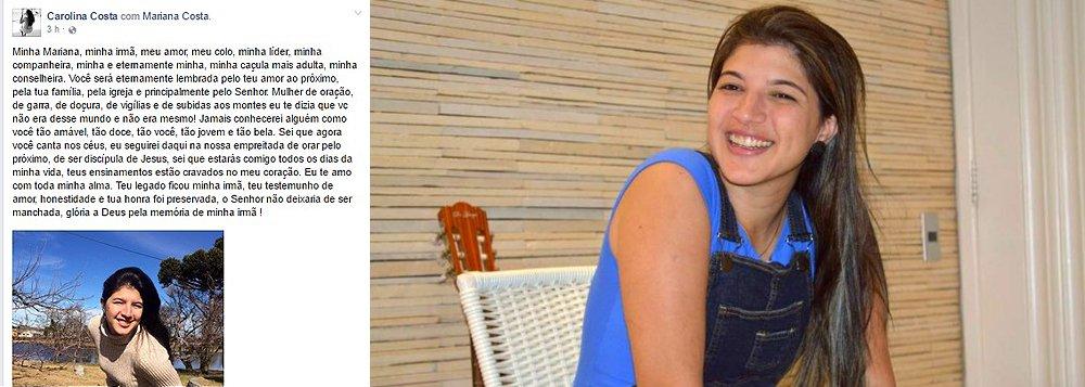 """Carolina Costa publicou, nas redes sociais, uma homenagem a sua irmã, Mariana Costa, a quem chama de """"meu amor, minha líder, caçula mais adulta, minha conselheira""""; Mariana foi encontrada nesta segunda-feira (14), pelas filhas de 11 e 9 anos, morta com sinais de asfixia em seu apartamento; ela foi assassinada pelo cunhado, Lucas Porto, que está preso e confessou o crime; ambas são sobrinhas do ex-presidente e ex-senador, José Sarney"""
