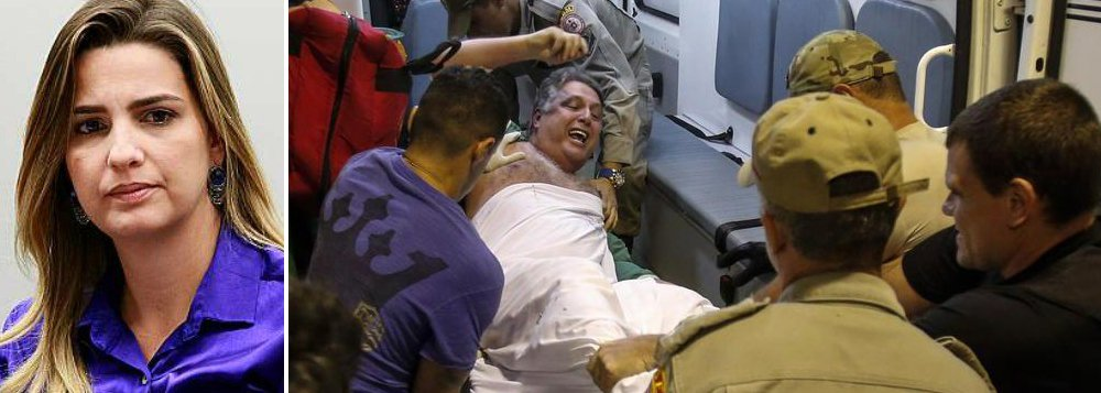 """Clarissa Garotinho, filha do ex-governador do Rio Anthony Garotinho, criticou a prisão do pai e disse considerar desumano sua transferência do Hospital Municipal Souza Aguiar para o Complexo Penitenciário de Gericinó, em Bangu, onde, segundo ela, não poderá receber os cuidados médicos necessários ao seu quadro cardíaco; """"Transferir um paciente pra um lugar onde ele não tem condições de ser atendido, isso é uma desumanidade"""", protestou"""