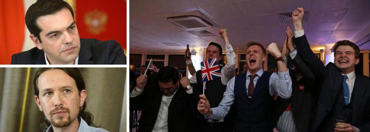"""Para o primeiro-ministro da Grécia e líder do partido Syriza, Alexis Tsipras,a decisão britânica de deixar a União Europeia """"confirma a profunda crise política e identitária da União Europeia"""", podendo ser """"um despertar ou o começo de um caminho perigoso para o povo europeu""""; já o líder do espanhol Podemos, Pablo Iglesias, disse queo bloco """"deve mudar""""; """"Ninguém iria querer partir de uma Europa justa e solidária"""""""