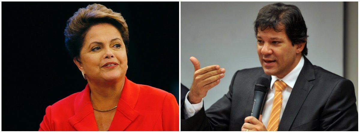 """A presidente eleita Dilma Rousseff não compareceu à convenção municipal do PT que lançou o prefeito de São Paulo, Fernando Haddad, como candidato à reeleição, mas enviou uma carta ao petista; Dilma diz queSão Paulo será palco """"emblemático da disputa entre dois projetos distintos de país e dois projetos antagônicos de mundo. O Brasil golpista e o Brasil democrático estarão duelando na eleição de outubro em São Paulo""""; a petista afirma, no entanto, que""""felizmente, na luta pela igualdade, a justiça e a democracia estarão muito bem representados na candidatura à reeleição do nosso prefeito Fernando Haddad""""; """"Asua vitória será a vitória da democracia em seu sentido mais pleno de inclusão, civilidade e justiça"""""""