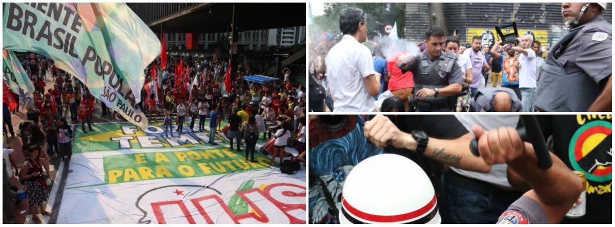 """O protesto ocorre na Avenida Paulista e éorganizado pelas frentes Povo Sem Medo e Brasil Popular, que reúne movimentos como MST e MTST, além de centrais sindicais como a Intersindical e a CUT; """"Esta é uma nova onda, um levante popular pós-impeachment. Todo mundo achava que o pessoal ia para casa, consumado o golpe. Mas nada disso"""", afirmou Raimundo Bonfim, coordenador-geral da Central dos Movimentos Populares; mais uma vez, houve truculência dos policias, que utilizaram bombas de gás lacrimogêneo e spray de pimenta contra participantes do protesto e fotógrafos da imprensa"""