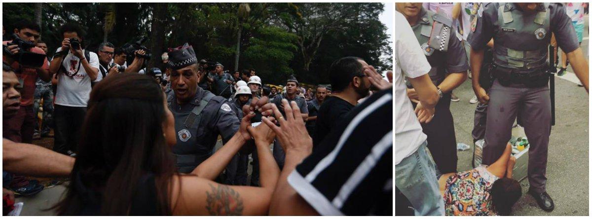 """Grupo Jornalistas Livres informou que, enquanto transmitia pelo Facebook o protesto contra Michel Temer na Avenida Paulista, o sargento Freitas tentou arrancar à força o celular da repórter Katia Passos durante a filmagem; """"Felizmente ele não conseguiu, mas houve luta corporal com a jornalista"""", diz o grupo; após a PM deter uma vendedora ambulante, que resistiu e levou spray de pimenta no rosto, o grupo bateu duro na PM-SP: """"é uma vergonha""""; """"Covardes machistas, batem em mulher que vendia cerveja e agridem manifestantes que tentavam defendê-la"""", disparou; """"O Governador Geraldo Alckmin nos deve explicações""""; veja o vídeo com a truculência da PM-SP"""