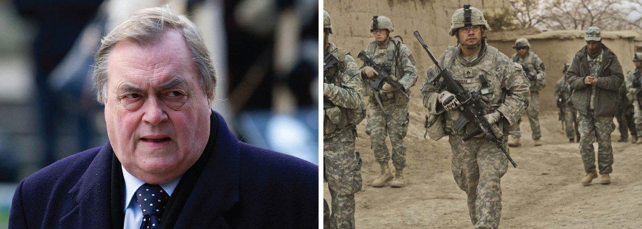 """John Prescott, que foi vice-primeiro-ministro do Reino Unido durante o governo Tony Blair, admitiu que a guerra contra o Iraque, em 2003, foi ilegal; """"Em 2004, o secretário-geral da ONU Kofi Annan disse que, posto que o objetivo principal da guerra do Iraque era a mudança de governo, a guerra era ilegal"""", escreveu escreveu em uma coluna publicada pelo jornal Sunday Mirror;. """"Com grande pena e raiva, hoje acredito que ele estava certo"""", completou; declaração foi feita poucos dias após a divulgação do Relatório Chilcot, que teceu duras críticas ao envolvimento da Inglaterra no conflito"""