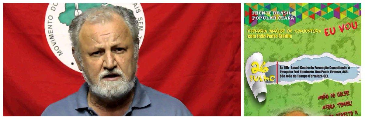 João Pedro Stédile, economista e fundador do MST, participa hoje, em Fortaleza, de uma plenária com militantes e lideranças que estão na luta contra o golpe