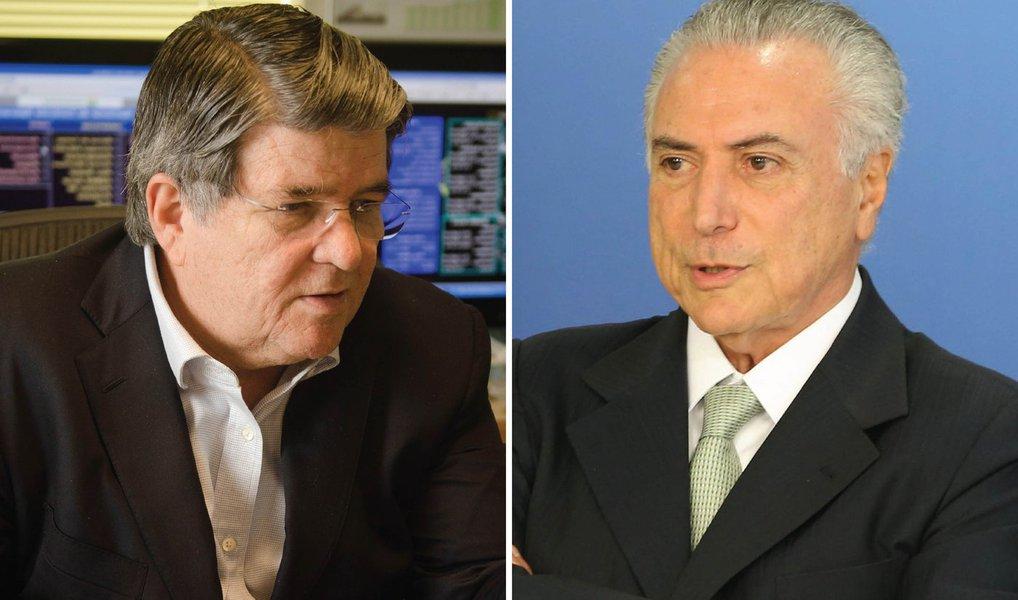 """""""Temer não teve direito a tréplica, tendo ficado implícito, desse modo, que o Jornal Nacional confia mais em Machado, a quem coube a palavra final, do que no presidente interino"""", diz o colunista Alex Solnik"""