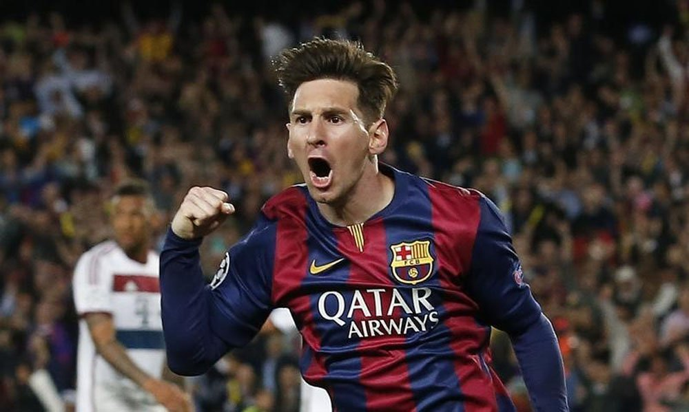 Lionel Messi, do Barcelona, comemora gol marcado sobre o Bayern de Munique, pela partida de ida das semifinais da Liga dos Campeões, em Barcelona. 06/05/2015 REUTERS/Gustau Nacarino