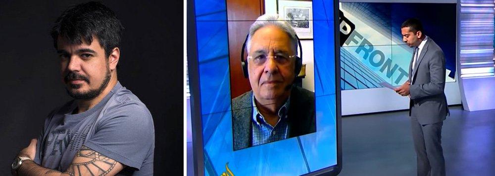 """""""Habituado a entrevistas com jornalistas brasileiros, que se limitam a levantar a bola para que ele corte em movimentos ensaiados, FHC teve suas posições confrontadas por um âncora da Al Jazeera e, como resultado, deu um vexame internacional"""", diz o escritor Pablo Villaça; """"No espaço de apenas dez minutos. o ex-presidente se embaraça repetidas vezes, chegando a contradizer a narrativa que seus comparsas golpistas vêm insistindo ao falar do 'impeachment'"""""""