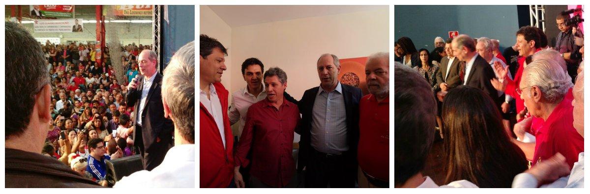 """O ex-ministro Ciro Gomes (PDT) participou hoje, em São Paulo, da Convenção do Partido dos Trabalhadores que homologou o nome do prefeiito Fernando Haddad para a reeleição.Segundo comentário postado pela jornalista Carol Pires, no Twitter, """"Ciro Gomes só não foi mais aplaudido que Lula.Quadra dos bancários: """"CIRO, CIRO, CIRO!"""". O PDT indicou Gabriel Chalita para vice de Haddad"""