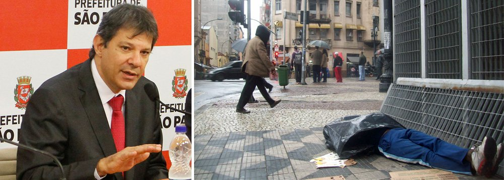 """Em nota divulgada nesta sexta-feira 17, o prefeito de São Paulocritica """"a grande imprensa"""", que segundo ele, foi """"tomada por uma inédita preocupação com higienismo e moradores em situação de rua"""", mas que até então havia sido contra programas da Prefeitura como o""""De Braços Abertos (DBA)"""", contra o crack; """"Hoje, a imprensa me acusa de querer isentar a Prefeitura de responsabilidade pelos óbitos da última frente fria. Não é verdade"""", rebate; Fernando Haddad afirmou ainda que não foi encontrada """"nenhuma correlação"""" entra a ação da GCM - que retirou colchão e outros pertences dessas pessoas - e os óbitos"""