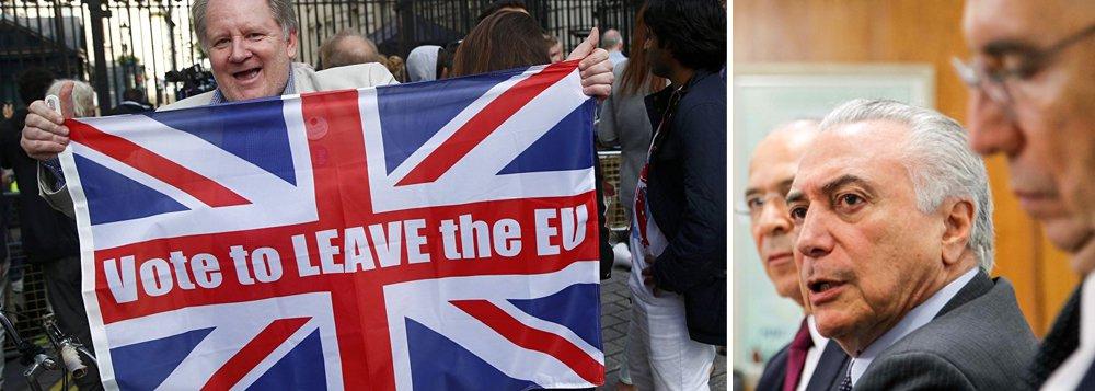 """""""Nos bastidores, há uma avaliação do governo Michel Temer de que a decisão do Reino Unido de se separar da União Europeia criará mais turbulência econômica no cenário internacional por meses até que o divórcio seja concluído. Isso é ruim para o Brasil, que enfrenta dois anos seguidos de recessão e que ensaiava uma recuperação a partir do segundo semestre. Ou seja, pode complicar a retomada do crescimento"""", diz o colunista Kennedy Alencar"""