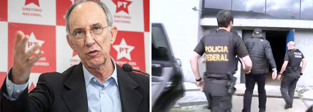 """""""Foi uma desumanidade inaceitável. A operação não deveria chamar Arquivo X, mas sim Operação Boca de Urna"""", criticou o presidente do PT, Rui Falcão; ex-ministro Guido Mantega foi preso enquanto acompanhava a mulher, com câncer, em uma cirurgia no Hospital Albert Einstein, em São Paulo; em coletiva, a PF lamentou que a prisão de Mantega tenha ocorrido hoje, mas que """"coincidências tristes"""" acontecem"""