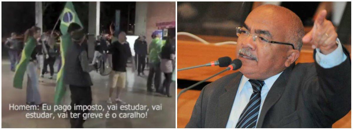 """Ao comentar episódio em que um grupo de fascistas entrou na Universidade de Brasília com bombas, cassetetes e gritando em defesa de Bolsonaro e contra cotistas, """"comunistas safados"""" e """"gays parasitas"""", o deputado distrital Chico Vigilante (PT-DF) cobra a Polícia Federal para que """"investigue com rigor"""" esse caso; para ele, """"isso é o ovo da serpente que vem sendo chocado ao longo dos últimos tempos. Tempos estes de discriminação aos negros, homossexuais, pobres e petistas que vem a causar absurdos como o visto ontem na UnB"""""""