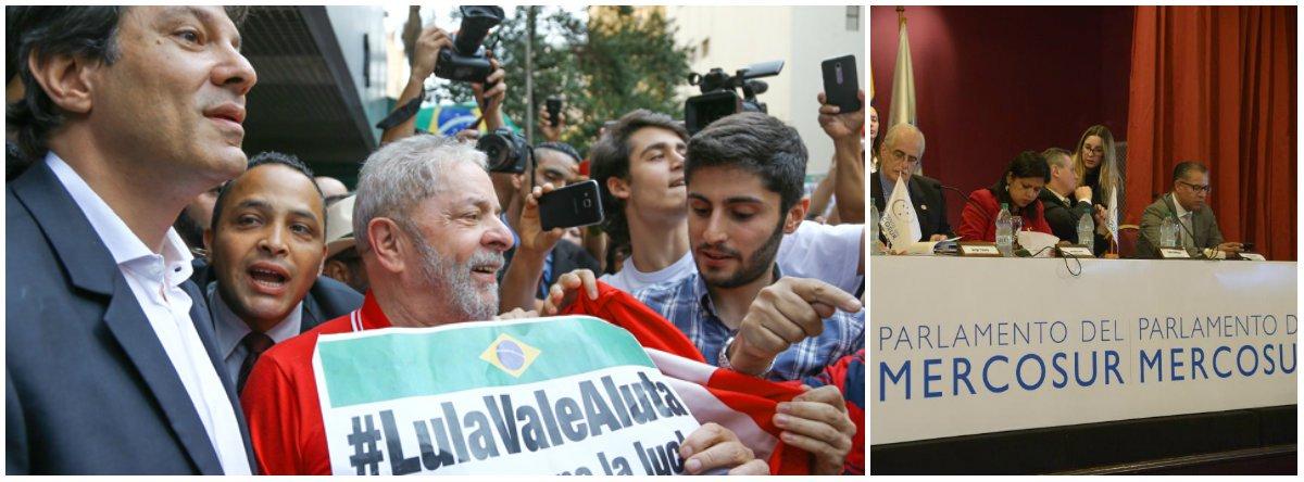 """Um manifesto assinado por 36parlamentares do Mercosul, ligados ao Grupo Progressista do Parlasul, repudiaas arbitrariedades cometidas pelo MPF contra o ex-presidente Lula; segundo o texto,""""o supremo crime de Lula é simplesmente ser Lula. É existir para o Brasil e o seu povo. Desse crime, Lula é culpado""""; parlamentares lembram que procuradores admitiram não terem provas cabais, """"mas que tinham convicção de que estavam certos""""; para o grupo, eles extrapolaram """"todos os limites da legalidade da ética profissional""""; """"Defender Lula, que lutou por um Brasil para todos, é defender um Mercosul para todos. É defender um Mercosul para os cidadãos, e não apenas para os mercados.Oenorme legado de Lula é intocável. Já entrou para a história e sempre repousará intacto, no coração de nossos povos"""""""