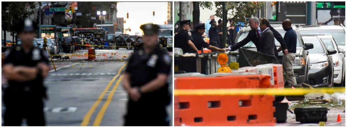 """Um homem ligou para o serviço de emergência dos EUA alertando para novas explosões após uma bomba ferir ao menos 29 pessoas no bairro Chelsea, em Nova York; a informação foi publicada no site do jornalNew York Post, que citou fontes policiais; """"Eu estou olhando para a explosão em baixo da quadra. Haverá mais"""", disse o homem, que não se identificou; governador de Nova York, Andrew Cuomo, que visitou o local da explosão (foto, à dir.) afirmou que a a tragédia foi um ato de terrorismo, mas não existe indício de ligações com grupos internacionais; segundo fontes, uma carta escrita à mão, parte em árabe, foi encontrada dentro de um saco plástico que continha o segundo aparato explosivo"""