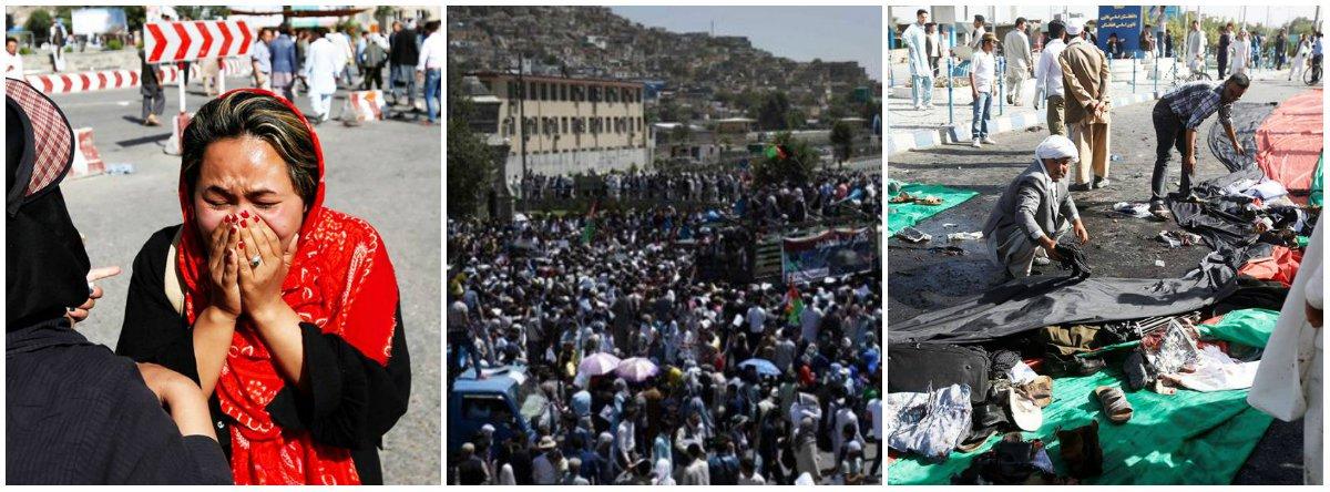 O ministério do Interior do Afeganistão emitiu uma proibição de concentrações públicas de todos os tipos para os próximos 10 dias, após ataque terrorista que matou 80 pessoas durante um protesto pacífico em Cabul; o ataque de um homem-bomba foi reivindicado pelo grupo Estado Islâmico; outras 231 pessoas ficaram feridas.