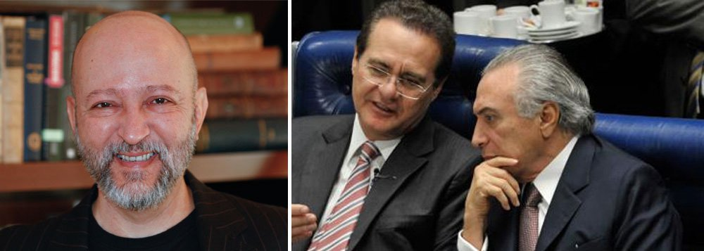 """Jornalista destaca que Michel Temer, presidente do PMDB há 15 anos, """"sempre soube que Machado fazia e acontecia na Transpetro""""; """"Administrava os ciúmes do PMDB da Câmara, que não era aquinhoado. Mas agora precisa fingir que não notou que Machado estava lá"""", diz; para Josias de Souza, até os """"fios de cabelo implantados na cabeça de Renan"""" sabem que ele era o padrinho-chefe de Sérgio Machado; """"Renan diz que Machado pilhou o setor público. Mas se abstém de informar porque o mantinha sob sua proteção política"""", afirma"""