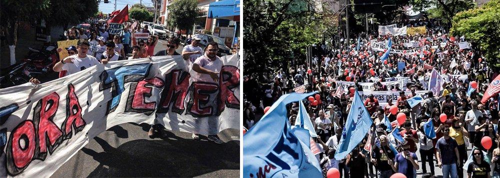 """Centrais sindicais e movimentos sociais fazem nesta quinta-feira 22 um dia de paralisação em ao menos 16 estados e no Distrito Federal; manifestações pedem Foram Temer, protestam contra o golpe e contra a retirada de direitos; segundo a CUT, a paralisação de hoje """"é o esquenta para greve geral"""""""
